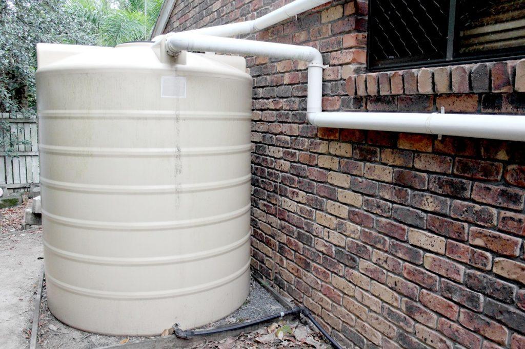 White rainwater tank