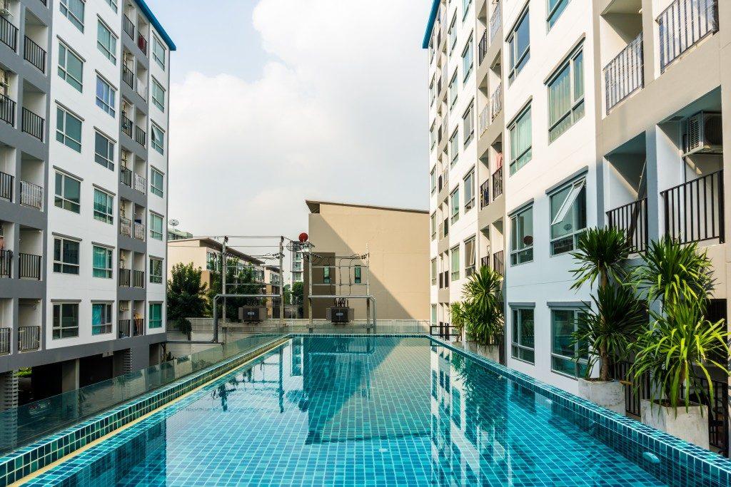 Swimming pool among condo