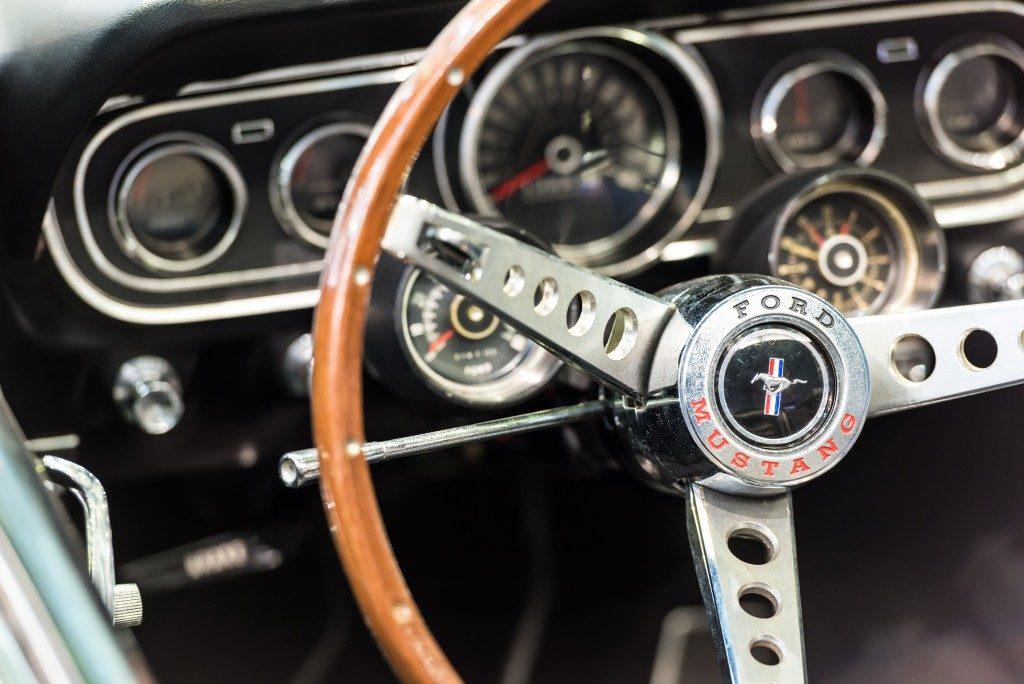 stirring wheel of a classic car