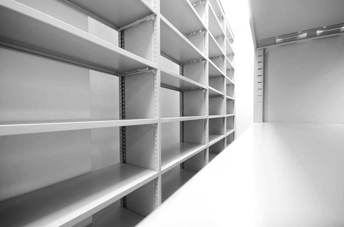 Empty steel rack