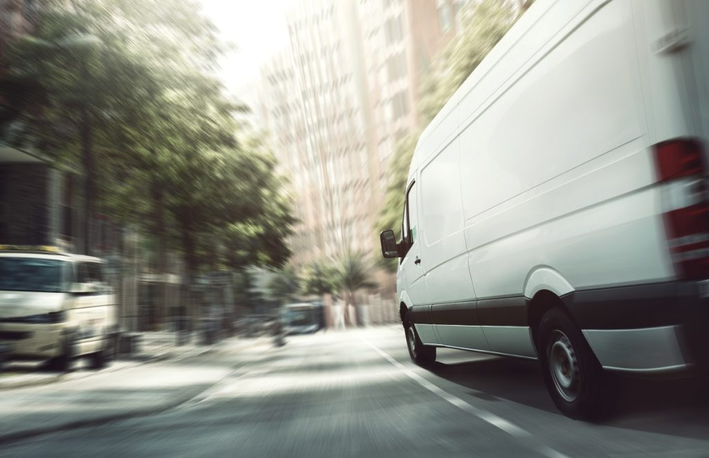 Sprinter van in high speed
