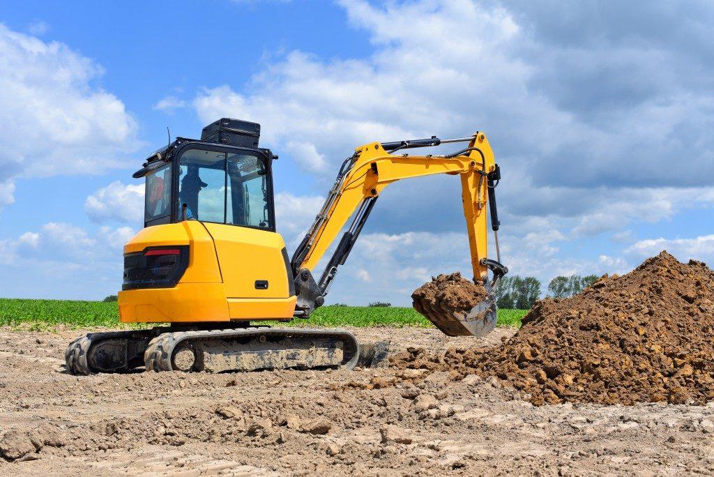 Backhoe excavator on site