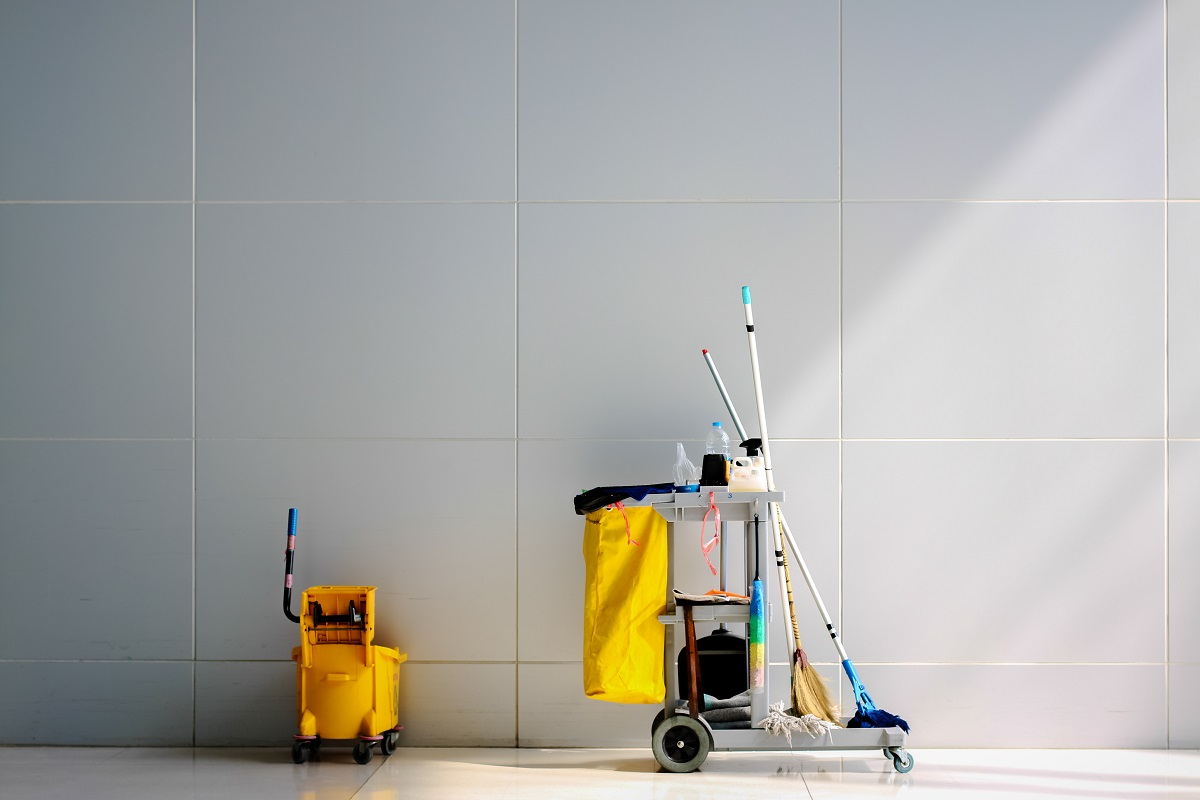 Commercial cleaning supplies in the building