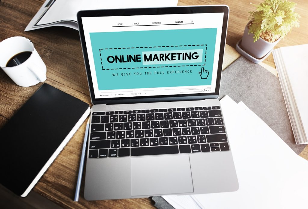 Online marketing shown on a laptop