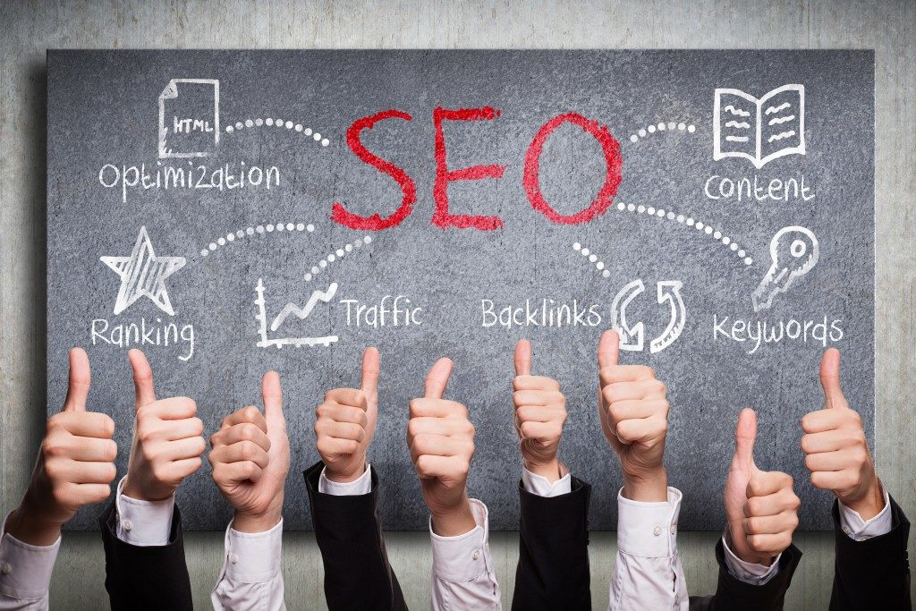 SEO concept with businessmen approved