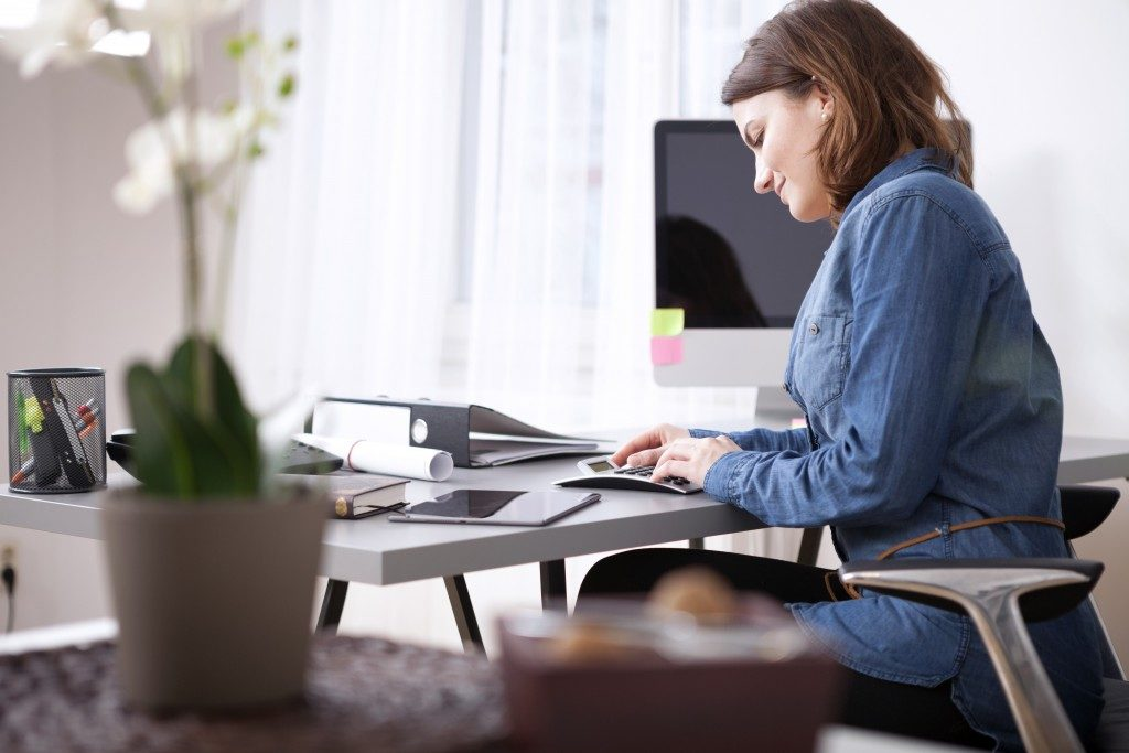 Woman bookkeeping