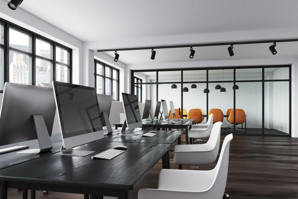 Modern office interior with desktops