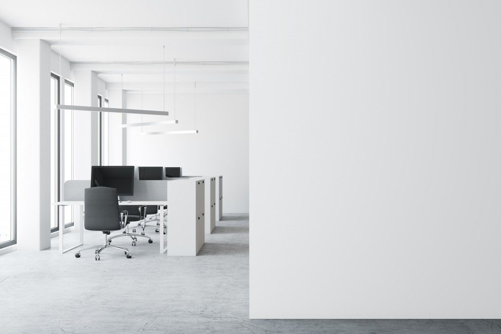 Office space with white walls