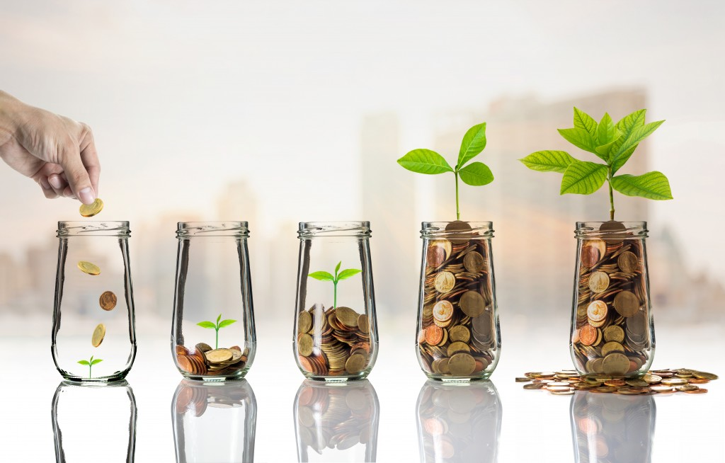 investing concept with plants growing with coins