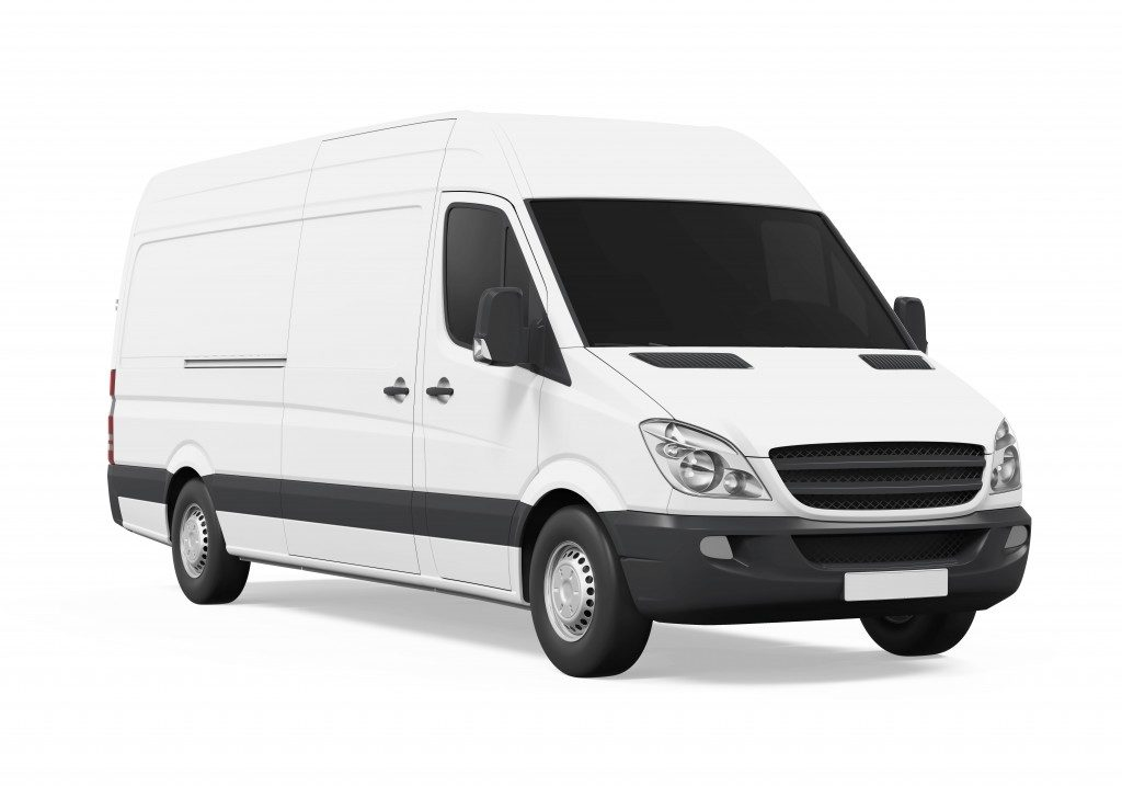 sprinter van on a white background