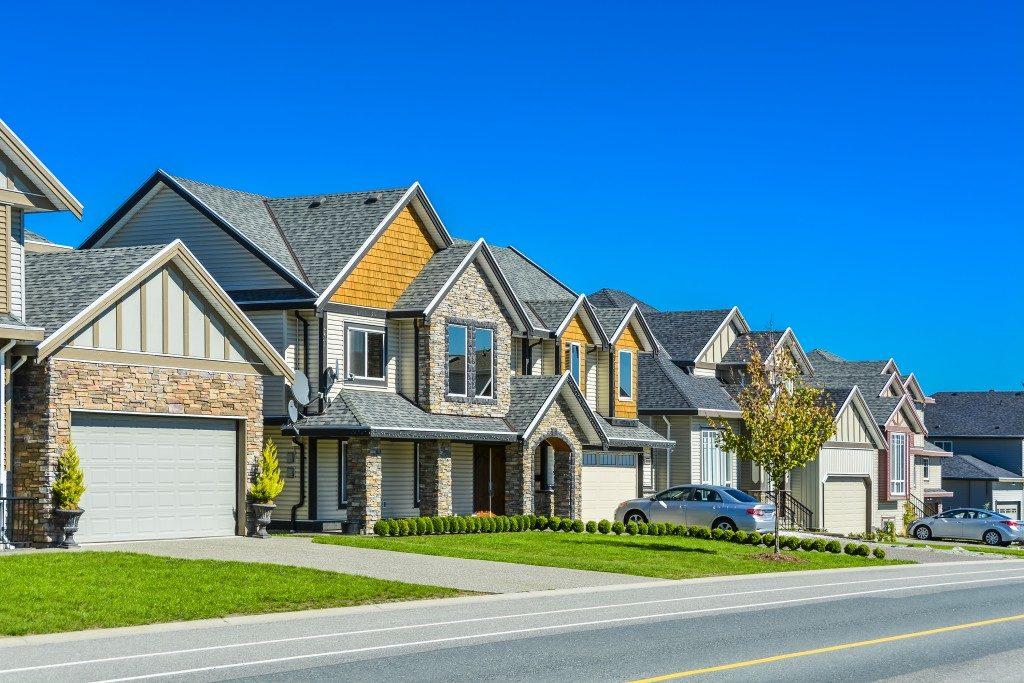 Homes with brick garage