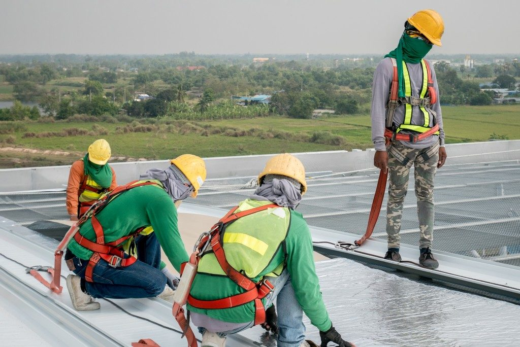 men working in a construction site