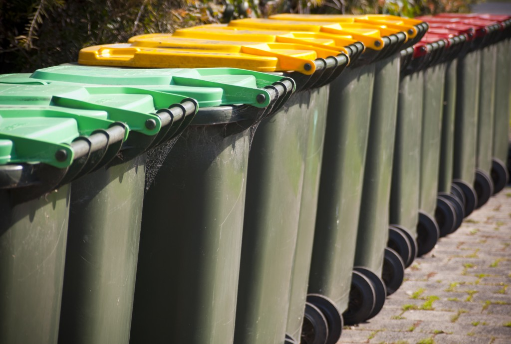 colored trash bins on a row