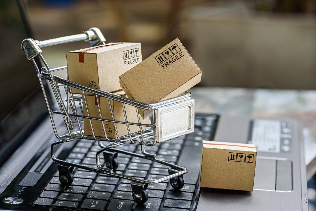 shopping cart and packaged boxes