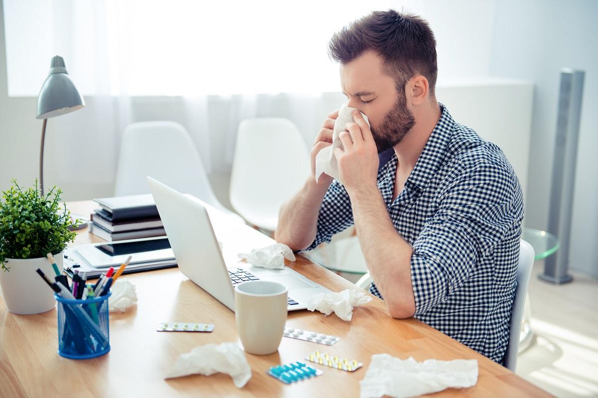 Man working while sick