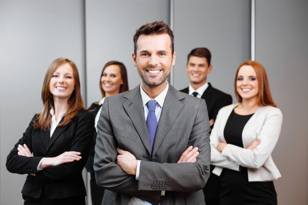businessman and employees