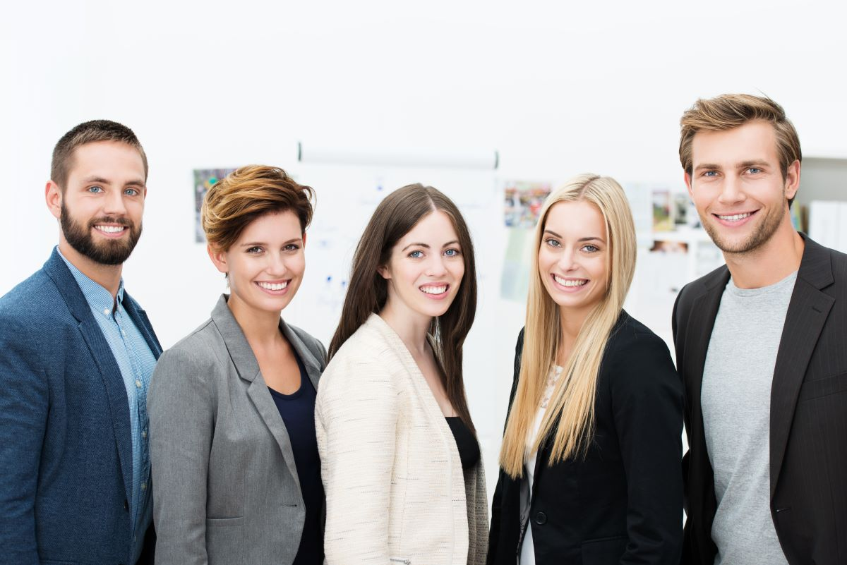 group of young office workers